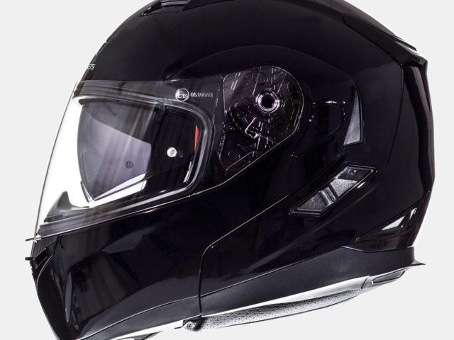 flip up mt kaciga flux solid black lavado hr 01