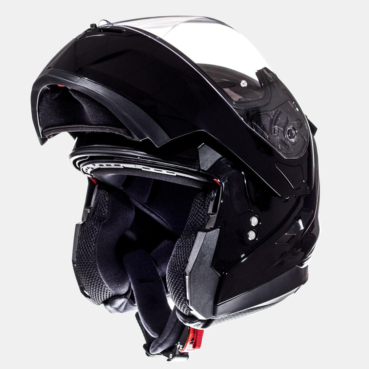 flip up mt kaciga flux solid black lavado hr 03