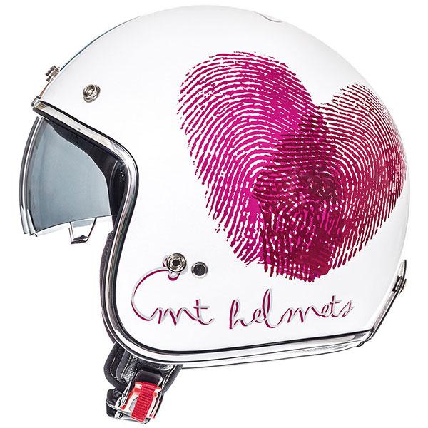 mt helmets le mans open face love white pink 01