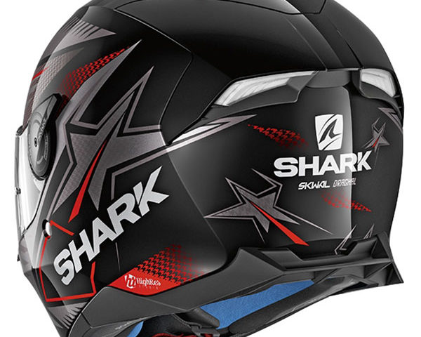 shark helmet skwal 2 draghal black anthracite red detail1