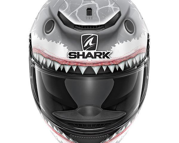 casque shark spartan replica lorenzo white shark mat gris mat blanc 3