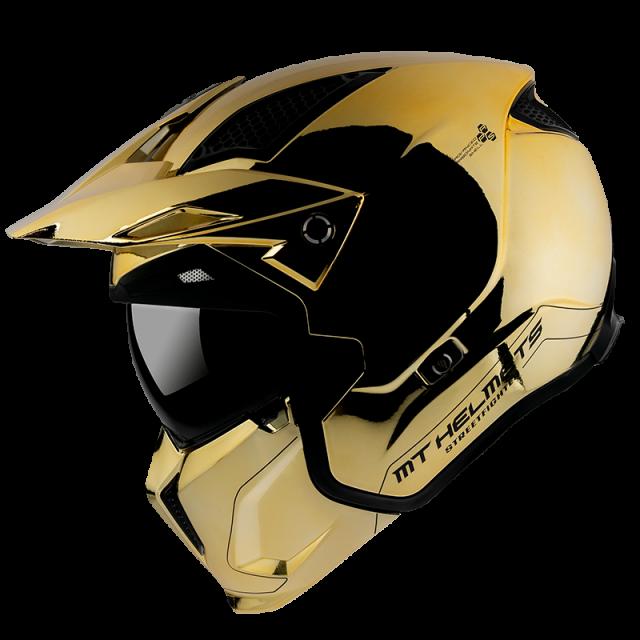 kaciga za motocikl mt helmets StreetFighter chromed gold
