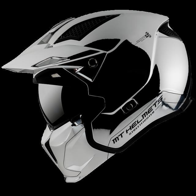 kaciga za motocikl mt helmets StreetFighter chromed silver